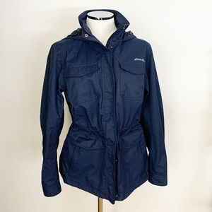 Eddie Bauer Navy Weatheredge Cinch Rain Jacket